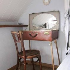 Old suitcase turned to vanity