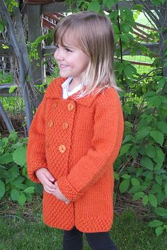 """1304 GIRL'S DOUBLE BREASTED COAT (AGES 2 - A warm coat for little girls, although it looks good on little boys when done in a """"manly"""" color.* It's knitted top down with bulky wool, with a stylish Baby Sweater Knitting Pattern, Knitted Baby Cardigan, Knitted Coat, Baby Knitting, Knitting Yarn, Girls Sweaters, Baby Sweaters, Coat Patterns, Sweater Patterns"""