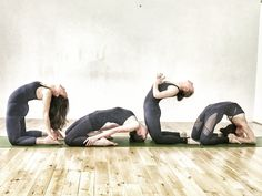 Our teachers exploring the range of kneeling backbends from the Intermediate Ashtanga Yoga Series. L-R: Ustrasana, Laghuvajrasana, Ustrasana (variation), Kapotasana