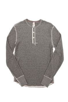 Classic 3-button knit henley by Todd Snyder x Champion, featuring contrast stitching and signature Champion patch on cuff. 100% cotton Made in Canada