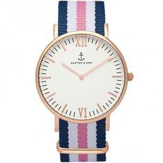 Eine Uhr mit dreifarbigem Band in Rosa, Blau und Weiß vom Label Kapten & Son - die roségoldene Damenuhr mit gestreiftem Strap ist ein Eyecatcher!