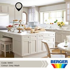 Pale neutral kitchens - a barbara barry kitchen with cabinets changed from white to farrow & Off White Kitchen Cabinets, Hickory Kitchen Cabinets, Off White Kitchens, Light Grey Kitchens, Kitchen Cabinet Colors, Cabinet Decor, Painting Kitchen Cabinets, Kitchen Colors, Shaker Cabinets