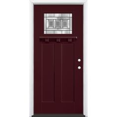 Masonite Craftsman Decorative Gl Left Hand Inswing Currant Painted Fibergl Prehung Entry Door With Insulating Core Common 36 In X 80 Actual