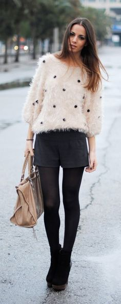 Trending now: Fluffy Sweaters Rock Style, My Style, Polka Dot Sweater, Fluffy Sweater, Winter Chic, Shorts With Tights, Clothing Hacks, Pullover, Cute Casual Outfits