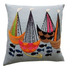 Nautical Scene Pillow : Biscuit Home Embroidery Stitches, Hand Embroidery, Biscuit Home, Textiles, Fabric Art, Cushion Covers, Textile Art, Needlepoint, Needlework