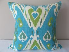 Waverly Ikat Enlightened Jade Decorative Pillow by PillowTimeGirls Turquoise Throw Pillows, Ikat Pillows, Modern Throw Pillows, Toss Pillows, Gold Wallpaper Background, Background Patterns, Turquoise Home Decor, Hand Painted Furniture, Handmade Home Decor