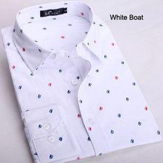 New 2017 Brand Men Shirt Slim Fit Casual Shirts Men Fashion Polka Dot Print Luxury Dress Shirts