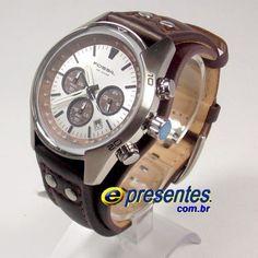 FCH2565Z Relógio Fossil Couro Marrom Masculino Cuff Cronografo