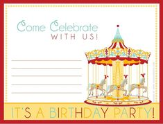 Free carnival birthday invite. A matching thank you note card is also available. From Celebrations at Home.