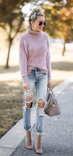 #winter #outfits pink and white turtle-neck sweater, distressed gray denim jeans, gray leather two-way handbag, and pair of brown suede heeled booties