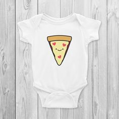 05ed21f8a Pizza Onesie, Bodysuit, Cute, Vegan Baby Gifts, Vegan Baby Shower,  Herbivore, Kawaii, Vegan Baby Clothing, Foodie, Love, Heart