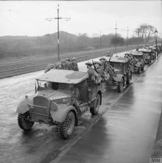 Norwegian troops in Fordson WOT2 15-cwt trucks, Coatbridge, Scotland, 10th November 1940.