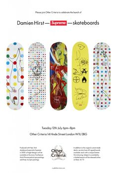 Love these Damien Hirst Skateboard decks - favourite being the large polka dot with shark!