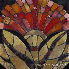 """ORGANICS 07 4.25""""x4.25"""" framed glass mosaic LinSchorr.com"""