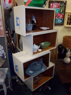Tired of an old dresser? Well dont throw it away! Take out the draws and make them into shelves like our creative vendor 159 did! How cool is that?