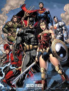 Justice League Movie Poster (Comic Version) by Jason Fabok, colors by SaintAldebaran on @DeviantArt