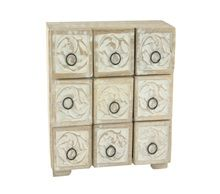 9 draw limed wood unit
