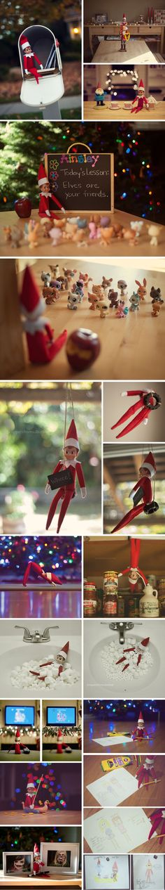 {Elf on a Shelf Ideas} These are awesome. Love the marshmallow bubble bath, downward dog and drawing on the frames....