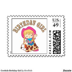 Cowgirl Birthday Girl Postage Stamp