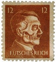 "Hitler ""Death Head"" Stamp - ""Operation Cornflakes"", a World War II Office of Strategic Services PSYOP mission in 1944 & 45 involved tricking the German P O into inadvertently delivering anti-Nazi propaganda to German citizens through the mail. The content of the mail often included copies of ""Das Neue Deutschland"", the Allies' German language propaganda news sheet, along with this ""stamp"". ""Futsches Reich"" translated: lost, destroyed, or collapsed empire."