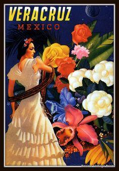 mexican vintage travel posters | Vintage Travel Poster VERACRUZ MEXICO circa 1930 Senorita with Flowers ...