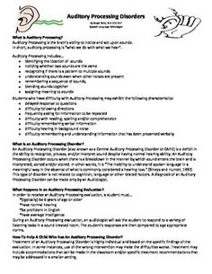 Auditory Processing can be very hard to understand and even harder to explain. Here is a great handout for parents that explains what auditory processing means, what an auditory processing disorder means, how an auditory processing disorder is diagnosed, how to help children with an auditory processing in various settings, quick facts about auditory processing and recommendation for further reading.
