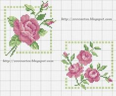 miniature needlework roses charts... no color chart available, just use pattern chart as your color guide.. or choose your own colors...