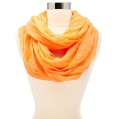 Solid Infinity Scarf ($9.99) ❤ liked on Polyvore featuring accessories, scarves, orange, loop scarf, tube scarves, lightweight infinity scarves, fringed infinity scarves and orange infinity scarf