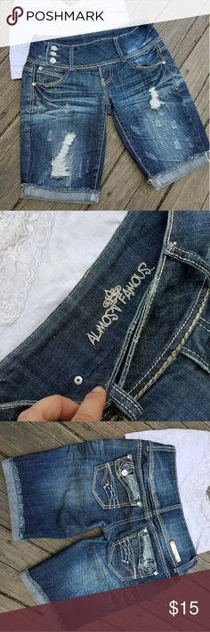 Almost Famous Denim Shorts Size 5 Adorable! Almost Famous brand denim shorts, destruction and embellishments on front and back, new without tags, size 5  Tags: camo country girl southern girl western southwestern buckle miss me justin boots ariat almost famous jeans shorts new follow game sale boho festival summer Almost Famous Shorts Jean Shorts