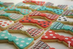 Items similar to Plaid and Polka Dot Bow-ties - decorated sugar cookies on Etsy Little Man Party, Little Man Birthday, Baby Boy First Birthday, First Birthday Parties, First Birthdays, Birthday Ideas, Bow Tie Cookies, Sugar Cookies, Bow Tie Party