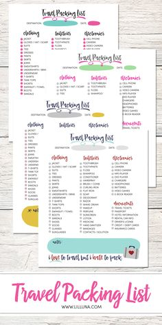 Free Printable Ultimate Travel Checklist  Packing Checklist Free