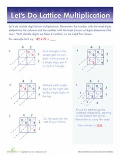 Getting into double digits with multiplication can get a little hairy! The lattice method is a great alternative to the traditional method. Lattice Multiplication, Multiplication Strategies, Multiplication Worksheets, Math Strategies, Math Resources, Math Tips, Math Fractions, Class Activities