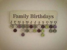 """What a cute way to keep track of family birthdays. Easily add new birthdays. Maybe name it """"Occasions"""" or """"Special Days"""" and include friends and occasions other than birthdays. Family Birthday Board, Birthday Wall, Diy Birthday, Birthday Tree, Birthday Ideas, Birthday Display, Birthday Pins, Card Birthday, Birthday Quotes"""
