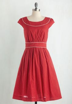 Day After Day Dress in Dot. You can trust that this pocketed dress by hard-to-find British brand Emily and Fin will lift your spirits when you need it! #red #bridesmaid #modcloth