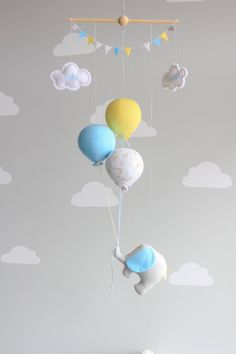 Balloon Baby Mobile, Elephant Mobile, Travel Theme, Nursery Decor, Nursery…