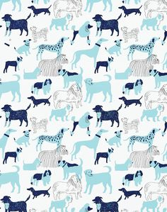 Overview We adore dogs and wanted to do a wallpaper inspired by some of our best friends. Christiana and Aimee sent Julia photos of their dogs, and Julia incorporated her dog Rudy into the design as w