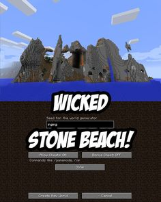 Spawn near a stone beach biome in this Minecraft Seed for PC/Mac. The Minecraft seed has dramatic rock cliffs and formations, lava flows and waterfalls.