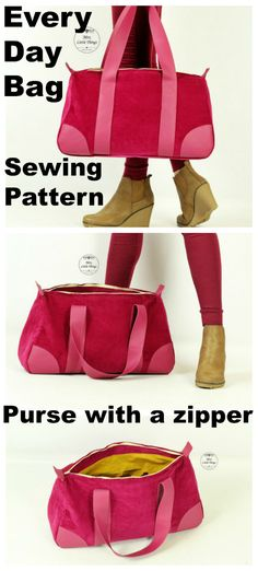 EVERY DAY bag - purse with a zipper - PDF sewing pattern - 2 sizes.