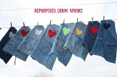 repurposed denim aprons - (HAPPY HOOLIGANS) sturdy, stain resistant kids craft apron made from the leg of an old pair of jeans! Makes a great gift for a little crafter! Jean Crafts, Denim Crafts, Sewing Hacks, Sewing Crafts, Sewing Projects, Sewing Aprons, Denim Aprons, Jean Apron, Happy Hooligans