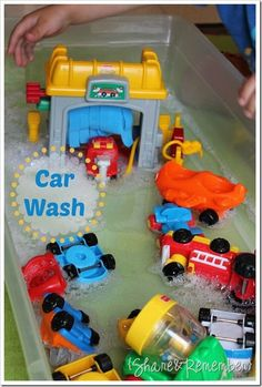 Young children love cars, and love to wash things - this is a great combo.