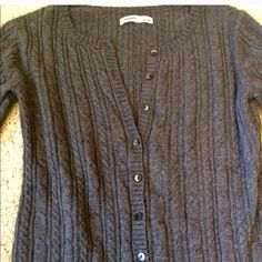 Angora hair ribbed cardigan This is a grey ribbed crew neck cardigan made with 10% angora rabbit hair. Size XS Old Navy, which runs large so I would say it may be labeled a S if it were another brand. Old Navy Sweaters Cardigans
