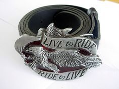 Eagle Belt and Buckle -Live to Ride - Ride to Live Biker Belts and Buckles U.K