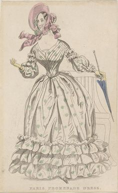 Paris Promenade Dress  1830-1840  Artist/s name UNKNOWN   Medium hand-coloured engraving Measurements Accession Number 2467.3-3 Credit Line National Gallery of Victoria, Melbourne