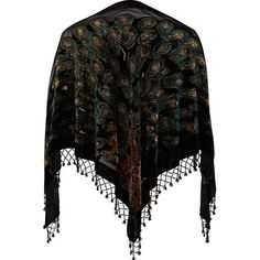 River Island Black Peacock Devore Shawl ($48) ❤ liked on Polyvore