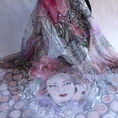 """Foulard écharpe étole en mousseline de soie peint main """" belle de jour """""""