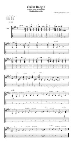 Tommy Emmanuel - Guitar Boogie TAB based on the acoustic guitar cover by Mockingbirdravelle - guitar tabs acoustic - pdf acoustic guitar sheet music download - guitar pro tab - instrumental acoustic guitar song - acoustic guitar solo Guitar Tabs Acoustic, Guitar Tabs Songs, Guitar Solo, Guitar Chords, Classical Guitar Sheet Music, Sheet Music Pdf, Guitar Tunings, Guitar Chord Progressions, Tommy Emmanuel