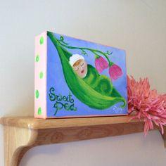 Nursery Art BABY girl SWEET PEA 5x7 Original Acrylic by nJoyArt, $34.50