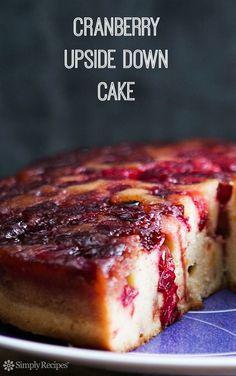 Cranberry Upside Down Cake ~ Cranberry upside down cake with caramel cranberry topping and orange zest speckled sour cream cake. ~ SimplyRecipes.com