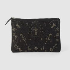 Image Embroidered Fabric Clutch Bag R édition Textiles, Clutch Bag, Leather Handbags, Zip Around Wallet, Shoulder, Fabric, Black Friday, Size Chart, Delivery