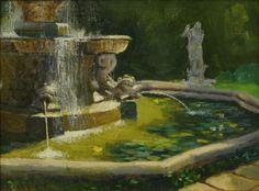 A lovely Italian Fountain, Dick Heimhold, 12x16 Oil on Board